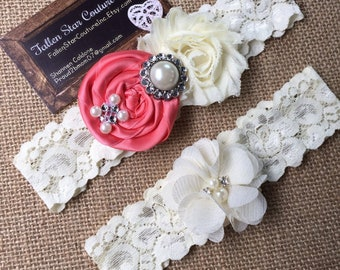 Wedding garter / David's Bridal Coral Reef / wedding  garter SET / bridal  garter/  lace garter