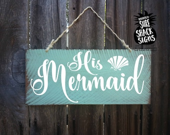 beach wedding, beach wedding decor, beach wedding signs, his and hers, his hers, bride groom, his mermaid her captain, mermaid, captain