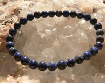 LAPIS-LAZULI A+round pearl bracelet on elastic thread