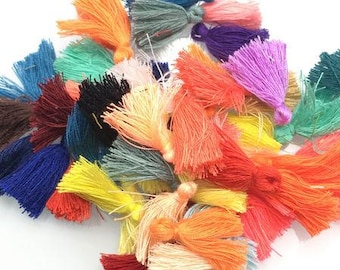 Cotton Tassels - Mixed Colours - 20 pieces - 30mm - Jewelry Making - Craft Supplies