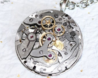 """Steampunk Necklace Jewelry -Ultra HIGH END Vintage """"Le Landeron"""" Swiss CHRONOGRAPH Watch Movement Men Steampunk Necklace Men Wedding Gift"""