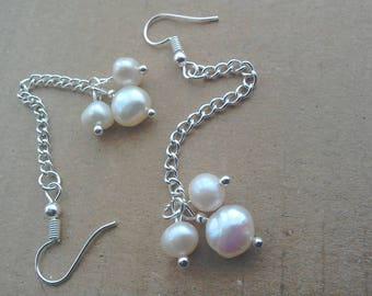 Cluster earrings / Freshwater pearl / pearl earrings /long earrings /chain earrings /silver earrings / pearl dangle earrings
