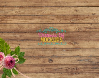 Styled Stock Photography - wood, flowers, empty background image, stock photo - INSTANT DOWNLOAD