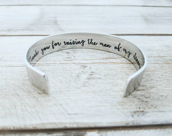 Thank You For Raising The Man Of My Dreams Bracelet - Mother Of Groom Gift - Future Mother In Law - Wedding Gifts
