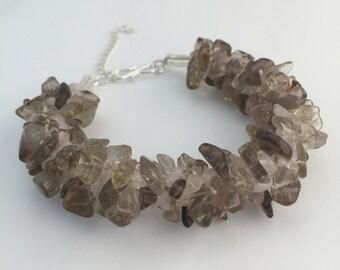 SALE Smokey & rose quartz gemstone bracelet: kumihimo; gemstone bracelet; healing bracelet; smokey quartz bracelet; gift for her; unique gif