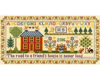 Bothy Threads Friend's House Historical Sampler Counted Cross Stitch Kit by Moira Blackburn - 30cm x 15cm