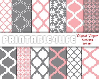 Digital paper pack in coral and gray, Quatrefoil, Floral patterns, Printable Scrapbook paper, Backgrounds, Personal Or Commercial Use (a11)