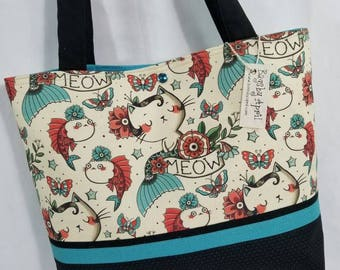 Mermaid Mercat Merkitty Cat ocean handbag beach tote fish purse