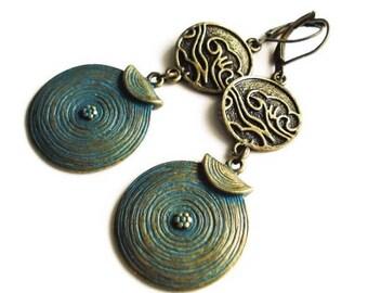 Boho Earrings Statement Jewelry Patina Earrings Bohemian Jewelry Gypsy Earrings Tribal Jewelry Large Earrings Ethnic Jewelry Dangle Earrings