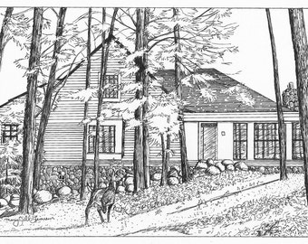 Custom Home Portrait Drawing Pen and Ink house cottage from your photo  8 x 10 inches black and white