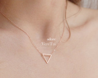 Dainty Geometric Cutout Pink RoseGold Triangle Layering Necklace