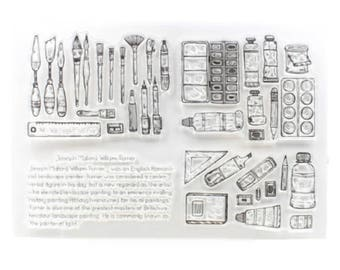 Painting Tools Transparent Stamp, Rubber Stamps, Journal Accessories - STM092