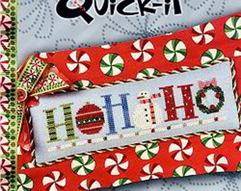 Lizzie Kate Quick-It - Ho Ho Ho In a Row - Christmas Cross Stitch Pattern Chart and Embellishment