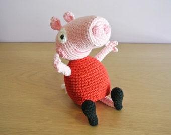 Crochet Peppa Pig Amigurumi - Handmade Crochet Amigurumi Toy Doll - Peppa Pig Crochet - Amigurumi Peppa Pig