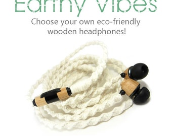 Custom Wood Headphones - Tangle Free Organic Wooden Eco-Friendly Earbuds Natural Yarn Wrapped Earphones - House of Marley or Skullcandy