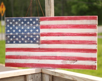 Wood flag, Wooden Flag Sign, fourth of july decor, americana sign, reclaimed wood flag, rustic flag sign, American flag sign, pallet sign