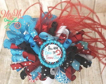 Born to Stand Out - Funky Loopy Bow - Hairbow - Red - Blue - White - Black - Feather - Flower - Korker - Barrette - Clip