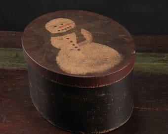 Primitive Snowman Box, Heavy Craft Paper Board