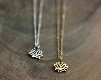 Tiny Lotus Flower Necklace- Your choice Gold or Silver