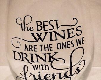 Stemless friends wine glass