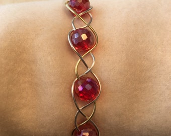 silver/gold plated copper wire bangle bracelet with red crystals