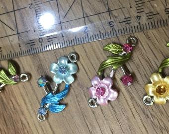 Romantic Art Nouveau inspired bracelet part flower with 2 eyelets-4 different colors-35mm