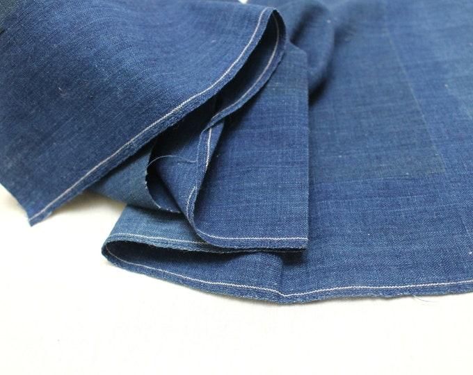 Japanese Indigo Cotton. Artisan Aizome Boro Textile. Blue Vintage Folk Fabric (Ref: 1640)