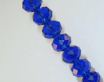 15 pearls 6mm iridescent Navy Blue swarovski crystal