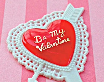Valentine Heart Cake Picks (12), Be My Valentine Cupcake Toppers, Lacy Doily Cake Picks, Vintage Lace Heart Cake Picks