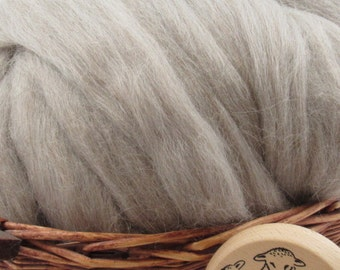 Grey Baby Alpaca Top - Undyed Natural Spinning Fiber/ Roving - 1oz