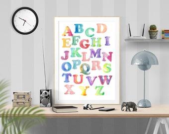 Watercolor Alphabet Print, baby nursery, abc Wall Art, alphabet nursery, Pastel Alphabet Print, Playroom Wall Art, ABC Nursery Art, Nursery