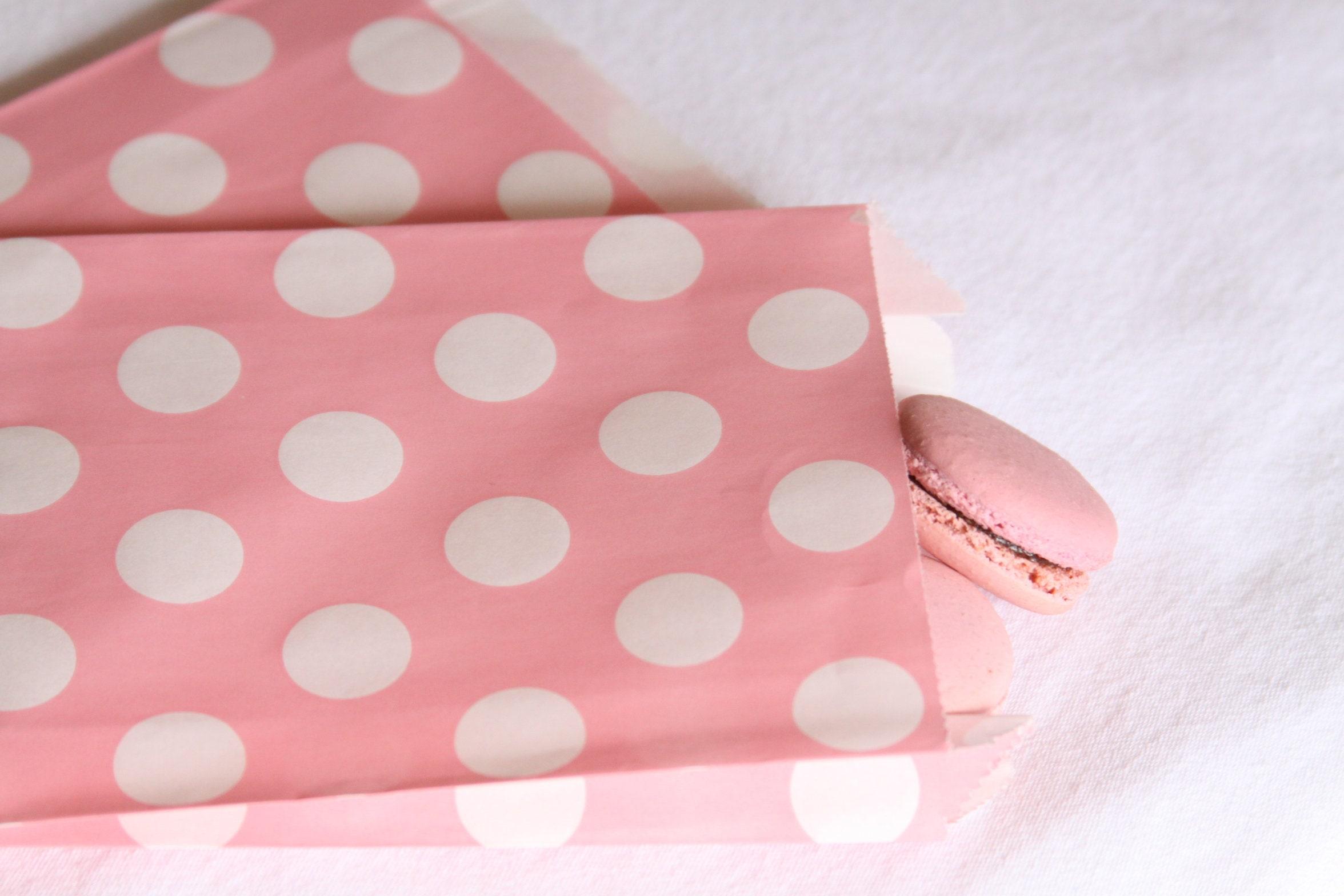 Blush Favor Bags, Pale Pink Polka Dot, Treat Bags, Gift Bags, Thank ...