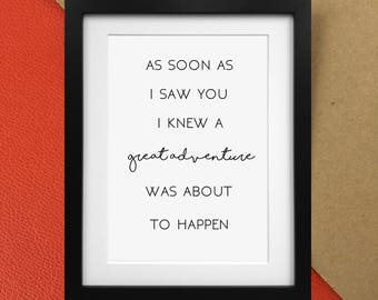 """AA Milne Winnie the Pooh """"Great Adventure"""" quote print  