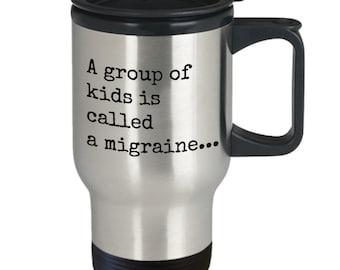 """Travel mug, Coffee mug, Funny mug, Dad, Gifts for dad, New dad gift, Mugs with sayings, Gift for him, Custom travel mug, Quote, """"Migraine"""""""