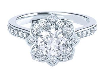 Halo Floral Moissanite Engagement Ring Bead Set Round Brilliant Cut 14K 18K Gold Platinum Palladium 1.272ct 6.5mm 1.772ct 7.5mm 2.272ct 8mm