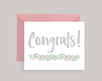 Congrats Greeting Card — Any Occasion Congrats Card —Graduation—Wedding—Engagement— Floral Modern Congrats Card with Peony Pink Envelope