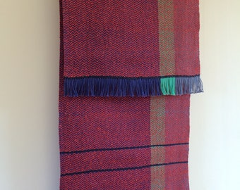 Handwoven table runner in cotton and silk