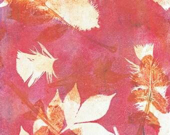 feather leaf deep pink print
