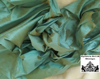 ANTIQUE BLUE SILK by the yard, dupioni silk, yardage, home decor,sea blue, two tone silk, blue, gold blue