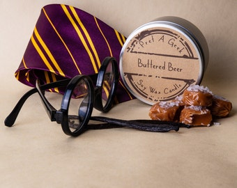 Buttered Beer Soy Wax Candle // Fandom Candle // Inspired by Witchcraft and Wizardry // Buttered Beer Candle // 8oz