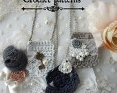 CROCHET PATTERN Pendant Necklace Pattern-Thumbelina Collection crochet necklace, mori necklace,romantic,crochet pendant skeleton key
