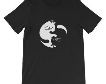 Cat Black And white Feng Shui Peace T Shirt for Cat lovers kitten kittens gift parody fun pun