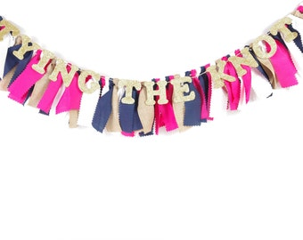 Nautical Bridal Shower Decor - Banner for Wedding Shower - Hot Pink, Navy, Gold, Burlap - Garland - Bunting