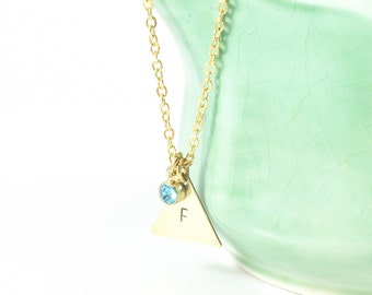 Stamped Initial Necklace, Gold Triangle Necklace, Geometric Necklace, Personalized Jewelry, Initial Jewelry, In Remembrance, Sympathy Gift