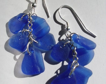 Dangle Earrings-Genuine Blue Sea Glass- Rare Cobalt Blue- Hand Made jewelry- blue cluster sea glass earrings- sterling silver