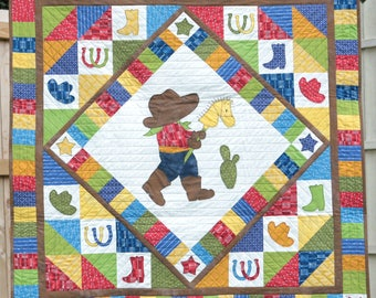 Cowboy Adventures QUILT PATTERN, Baby Quilts, Western Quilts, Baby Boy Quilts, Baby Shower Gifts