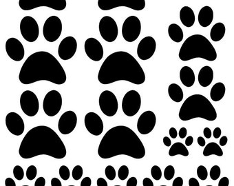 44 Black Paw Prints Vinyl Wall Decals Stickers Bedroom Teen Kids Baby Dorm Room Cat Dog Pet Removable Custom Easy to Install Wall Art