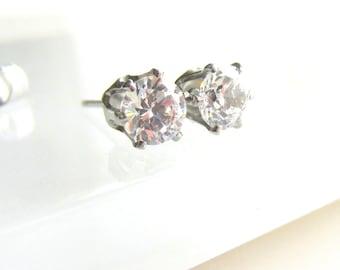 Clear Crystal CZ Stud Post Earrings Stainless Steel Post Earrings Hypoallergenic, one pair, choose stud size, 4mm or 6mm stud