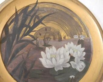 Vintage Original Painting on Metal Waterlilies & Reeds signed MP