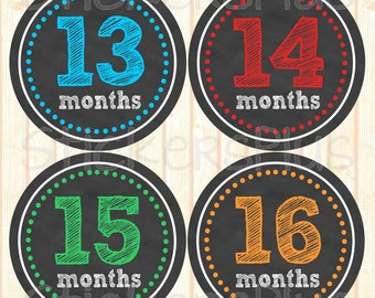 Second Year Baby Boy Monthly Stickers Baby Month Stickers Chalkboard Chalk Sketch PRECUT Baby Age Bodysuit Milestone Sticker 13-24 Months